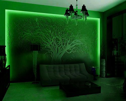 Дизайн стены с подсветкой